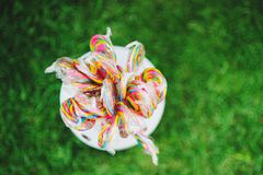Colorful lollipops, colored candy on a green background stock photography