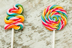 Colorful lollipops of different shapes Royalty Free Stock Image