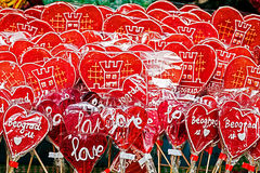 Colorful lollipops symbolizing hearts with Belgrade Royalty Free Stock Photo