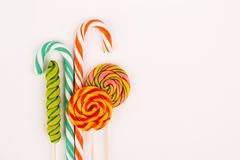 Colorful lollipops on a white background Stock Photo