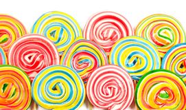 Colorful lollipops on white Royalty Free Stock Photos