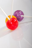 Colorful lolly pops on white Stock Photo
