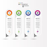 Colorful long rounded stickers with icons. Infographic concept. Royalty Free Stock Images