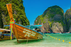 Colorful long tail boat at Maya Bay heavenly beach Stock Photo
