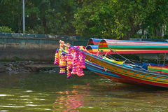 Colorful long tailed boat in Chaopraya river Thailand Royalty Free Stock Images