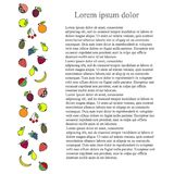 Colorful longitudinal fruit background, black Lorem ipsum. Stock vector illustration vector illustration