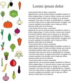 Colorful longitudinal fruit background, black Lorem ipsum. Colorful longitudinal vegetable background, black Lorem ipsum, stock vector illustration vector illustration