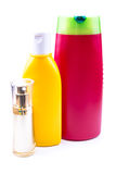 Colorful lotion bottles Stock Photography