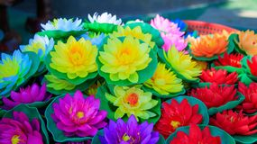 Colorful Lotus Flowers made of Plastic , Artificial Lotus Flower stock photos