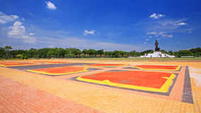 Colorful lotus footpath to Buddha statue at Phutthamonthon Royalty Free Stock Photography