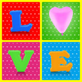 Colorful love alphabet and pink balloon on pop art background. Love concept stock images
