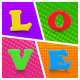 Colorful love alphabet on pop art background. Love concept Royalty Free Stock Photos