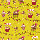 Colorful love cupcakes. Seamless background,  illustration Stock Image