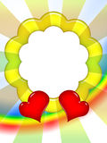 Colorful Love Frame. Bright colorful love photo frame with red hearts and sun rays Stock Photos