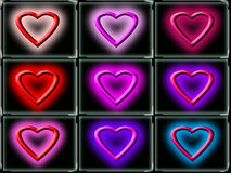 Colorful love hearts. Set of nine colorful three dimensional love heart shapes on black buttons Royalty Free Stock Photos