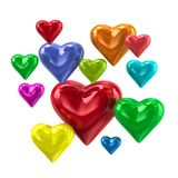 Colorful love hearts 3d illustration. Isolated on white background Royalty Free Stock Image