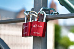 Colorful love locks Royalty Free Stock Images