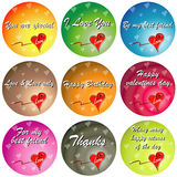 Colorful Love with Quotes. A set of colorful love hearts illustration with the texts of 'You are special' 'I Love You' 'Be my best friend' 'Love & Love only' ' Stock Images