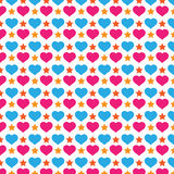 Colorful Love And Star Background Pattern Royalty Free Stock Photos