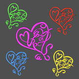 Colorful love symbols Royalty Free Stock Photography