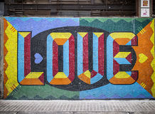 Colorful Love Tiled on a Wall in Buenos Aries, Argentina Royalty Free Stock Images