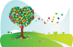 Colorful Love Tree. A Tree with colorful heart shape leaf Stock Image
