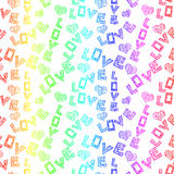 Colorful Love Words Seamless pattern Stock Photos
