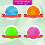 Colorful Low Poly Badges. Shiny Poly Badges with Ribbon Textfield vector illustration
