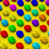 Colorful low poly brains pattern. Original low poly brain illustration pattern on yellow background Stock Photography