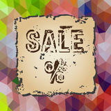 Colorful low polygonal triangles pattern with old piece of paper sale eps10 Stock Photos