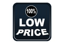 Colorful low price 100% web button white background. Colorful low price 100% web icon button of vector illustration on isolated white background Royalty Free Stock Images