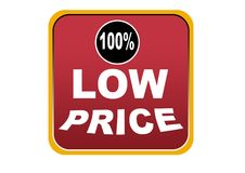 Colorful low price 100% web button white background. Colorful low price 100% web icon button of vector illustration on isolated white background Royalty Free Stock Photography