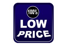 Colorful low price 100% web button white background. Colorful low price 100% web icon button of vector illustration on isolated white background Stock Photography