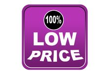 Colorful low price 100% web button white background. Colorful low price 100% web icon button of vector illustration on isolated white background Stock Photos