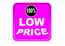 Colorful low price 100% web button white background. Colorful low price 100% web icon button of vector illustration on isolated white background Stock Image