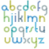Colorful lowercase letters with rounded corners, animated light Royalty Free Stock Images