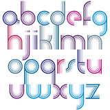 Colorful lowercase letters with rounded corners, animated spheri. Cal striped font Stock Images