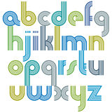 Colorful lowercase letters with rounded corners, animated spheri. Cal striped font with outline Stock Photo