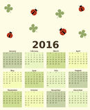 Colorful lucky 2016 calendar with four leaf clover and ladybug. Colorful lucky 2016 vector calendar with four leaf clover and ladybug vector illustration