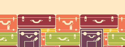 Colorful luggage horizontal seamless pattern Royalty Free Stock Photos