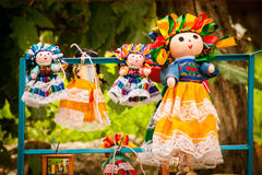 Colorful Lupita Dolls named after Guadalupe Janitzio Island Patz Royalty Free Stock Photos