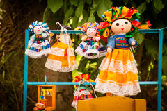 Colorful Lupita Dolls named after Guadalupe Janitzio Island Patz Stock Images
