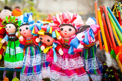 Colorful Lupita Dolls named after Guadalupe Janitzio Island Patz Royalty Free Stock Images