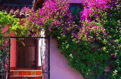 Colorful luxury home with beautiful entrance Stock Photo