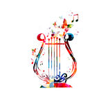 Colorful Lyre with Butterflies royalty free illustration