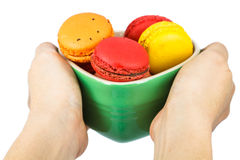 Colorful macaron in ceramic Stock Photography
