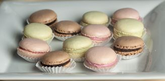 Colorful Macaron in close up Stock Image