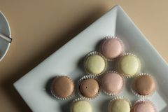 Colorful Macaron in close up Stock Photos