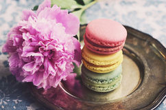 Colorful macaron cookies and peony flowers, vintage style Stock Images