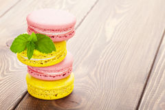 Colorful macaron cookies Stock Photos